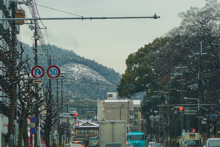 The snow-capped the Daimonji mountain